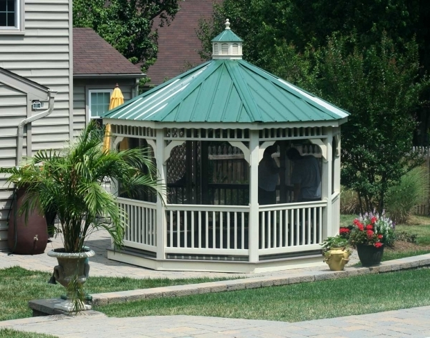 Gorgeous Steel Roof Gazebo Vinyl Single Roof Octagon Gazebos With Metal Roof Gazebos