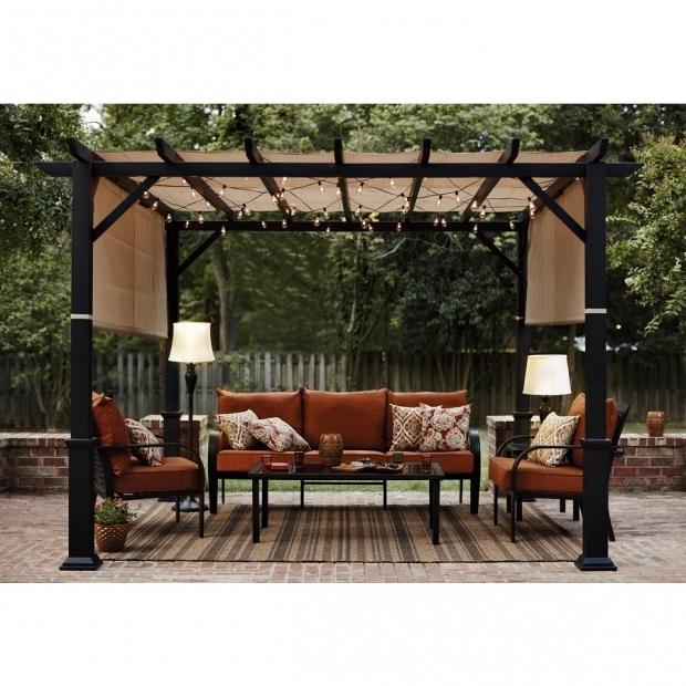 Marvelous Garden Treasures Matte Black Steel Pergola With Canopy Shop Garden Treasures 134 In W X 134 In L X 92 In H X Matte Black