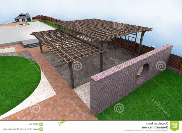 Outstanding Multi Level Pergola Landscaping Multi Level Pergola 3d Render Stock Illustration