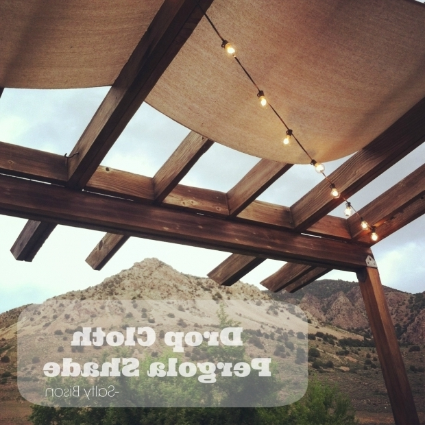 Picture of Fabric Shade For Pergola Outdoor Space Makeover Painted Floors Diy Drop Cloth Shade
