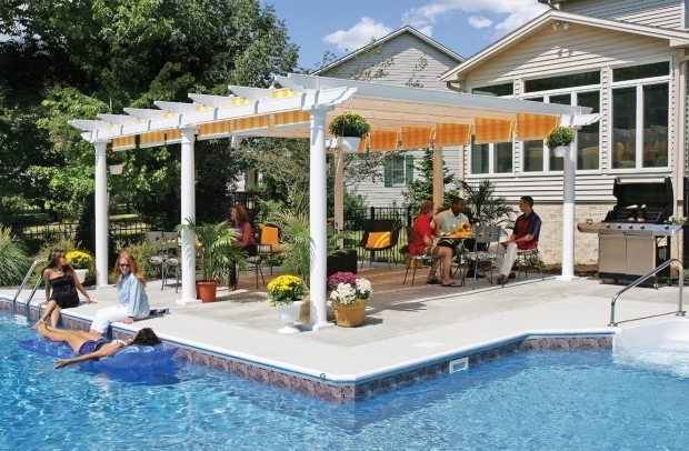 Picture of Vinyl Pergola With Retractable Canopy Canvas Pergola Shadetree Canvas Pergolas
