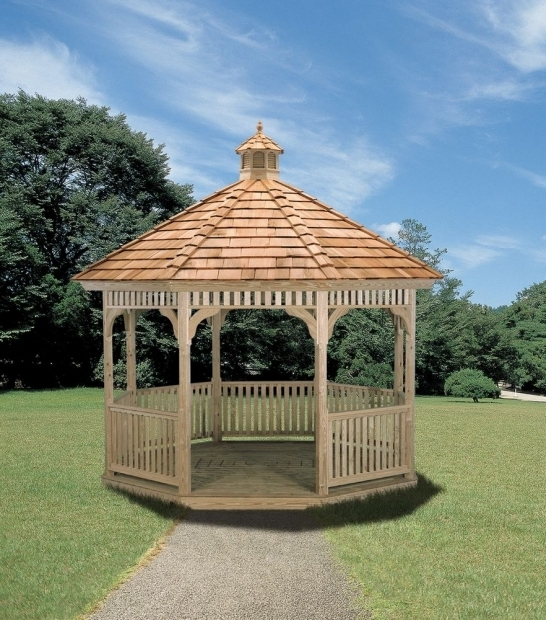 Remarkable 12x12 Cedar Gazebo With Aluminum Roof Gazebo Ideas Octagon Victorian Wood Gazebo With Outdoor Living