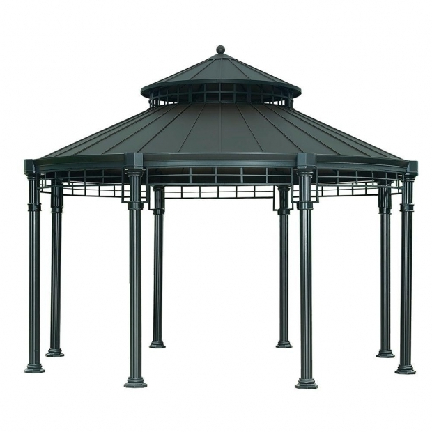 Remarkable Sunjoy Hardtop Gazebos Victoria 143 Ft X 114 Ft Steel Round Hardtop Gazebo Home