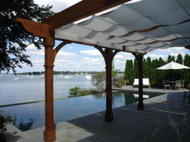 Stunning Retractable Pergola Shade Cloth Pergolascanopies Existing Cedar Pergola With Shade Tree