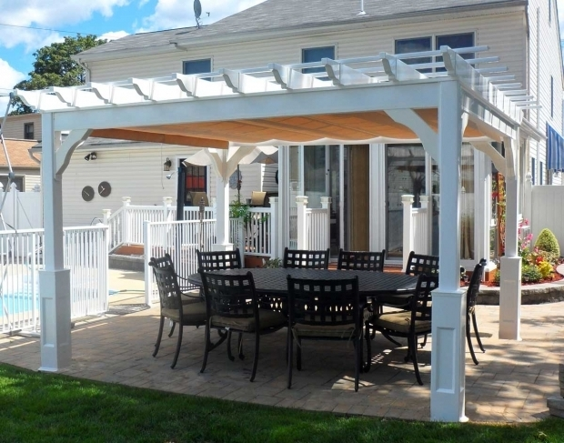 Wonderful Vinyl Pergola With Retractable Canopy This Vinyl Pergola Has Been Enhanced With A Fabric Roofing