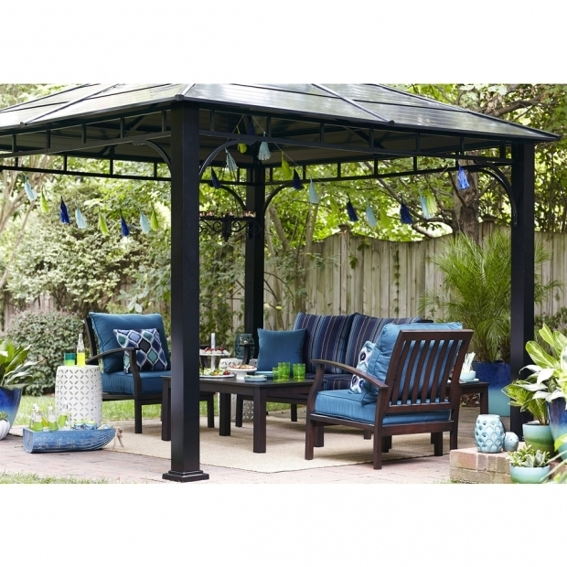 Allen Roth Black Square Grill Gazebo