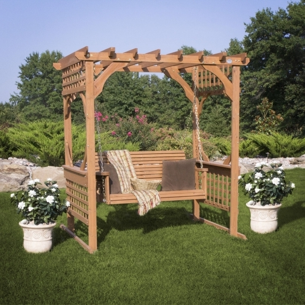 Alluring Cedar Pergola Swing Cedar Pergola Swing Front Yard Between The Two Oaks Facing Curve