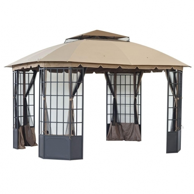 Alluring Gazebos At Home Depot Sunjoy Loden 13 Ft X 108 Ft Steel And Fabric Gazebo L Gz120pst