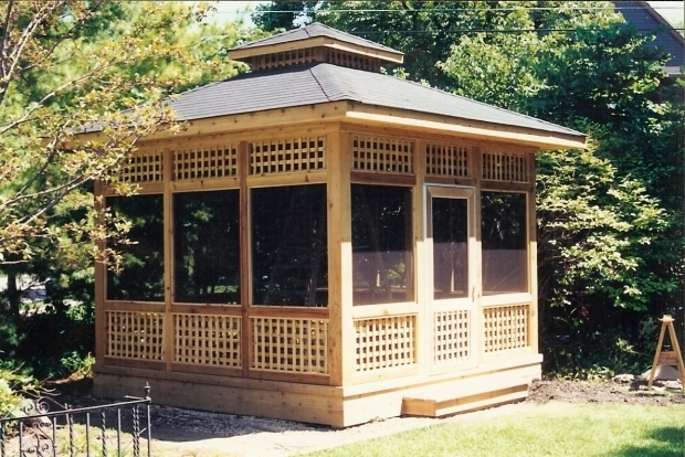 Alluring Screened In Gazebo Wood Screened In Gazebo All Home Ideas How To Screened In Gazebo