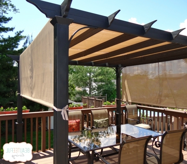 Alluring Sun Shade For Pergola Our New Pergola Shade At Last Beauteeful Living