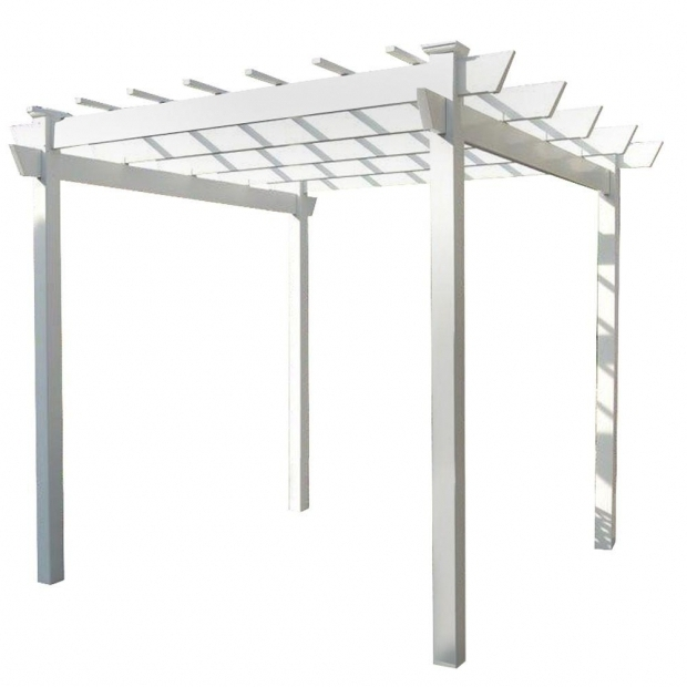 Fantastic Pergola Dimensions Height Dura Trel Kingston 8 Ft 9 In X 8 Ft 9 In White Vinyl Pergola