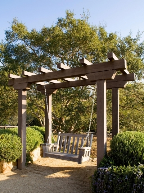 Fascinating Pergola With Swing Astounding Wooden Patio Deck Design With Small Garden Featuring