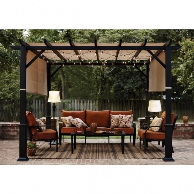 Image of Garden Treasures Square Pergola Shop Garden Treasures Matte Black Steel Freestanding Pergola With
