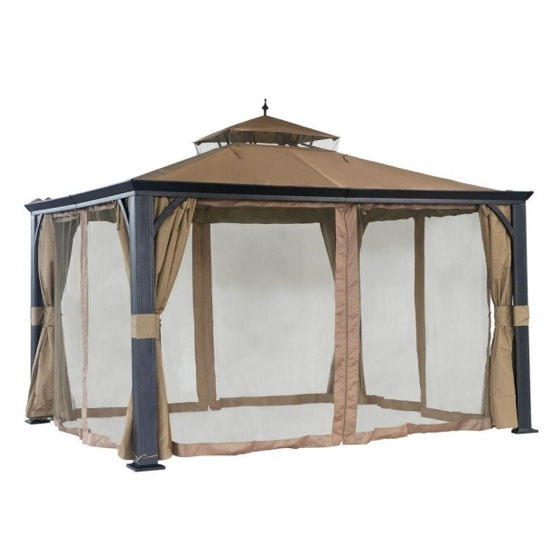 Image of Gazebos At Home Depot Sunjoy Monaco 10 Ft X 12 Ft Beige Steel Soft Top Gazebo