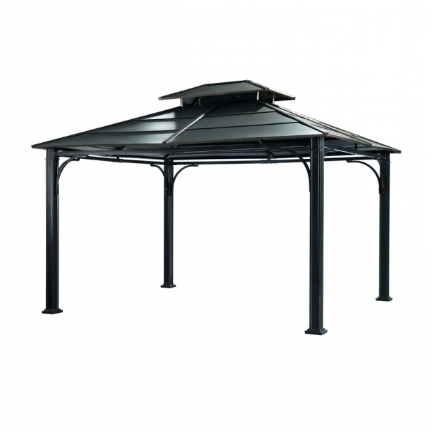 Image of Metal Gazebo Lowes Shop Sunjoy Black Steel Rectangle Permanent Gazebo Exterior 10