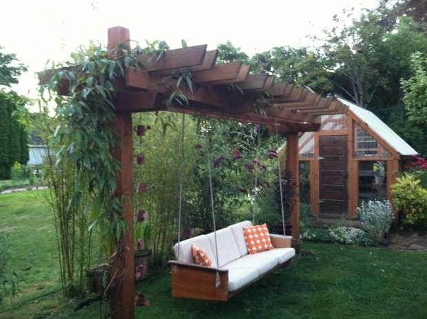 Inspiring Pergola With Swing Teak Couch Made Into A Pergola Swing For The Yard Pinterest