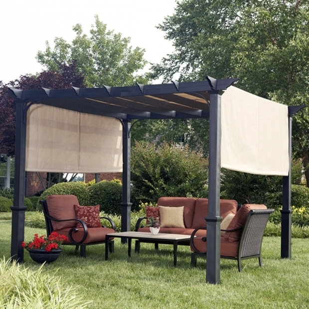 Marvelous Garden Treasures 10 Square Pergola With Canopy Shop Garden Treasures Matte Black Steel Freestanding Pergola With