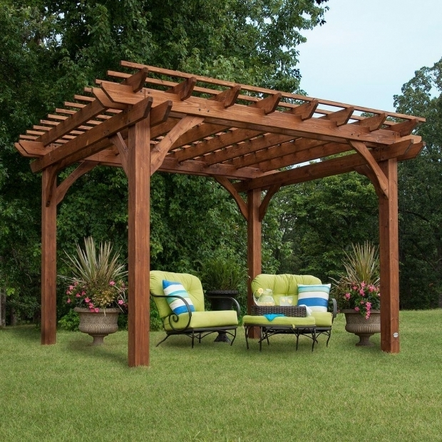 Remarkable Home Depot Pergolas Backyard Discovery 10 Ft X 12 Ft Cedar Pergola 6214com The