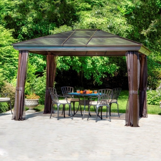 Stylish 10x10 Hardtop Gazebo Lowes Shop Gazebo Penguin Brown Aluminum Rectangle Screened Gazebo