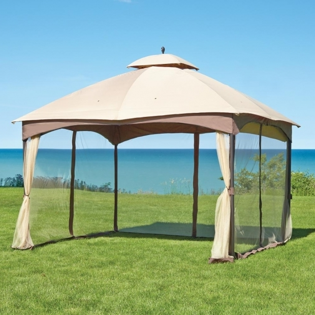 Stylish Home Depot Canopies And Gazebos Massillon 10 Ft X 12 Ft Double Roof Gazebo L Gz933pst The Home