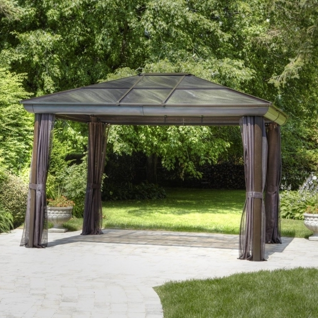 Wonderful Allen Roth Black Square Grill Gazebo Shop Gazebos At Lowes