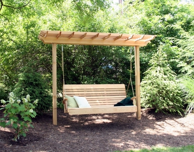 Wonderful Pergola With Swing Astounding Wooden Patio Deck Design With Small Garden Featuring
