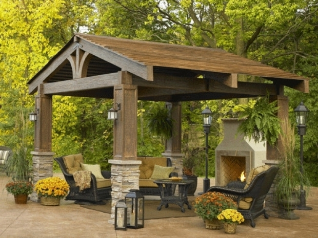 Amazing Screened In Gazebo With Fire Pit Gazebo Ideas Perfect Backyard Kitchen With Additional Home Design