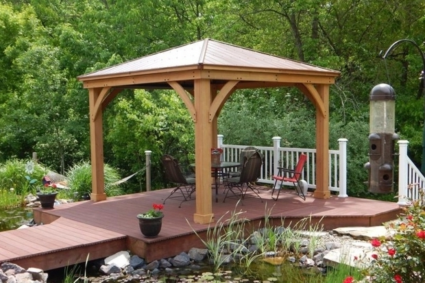Awesome Cedar Wood Gazebo With Aluminum Roof Expand Your Outdoor Living Space Using The Wood Gazebo With