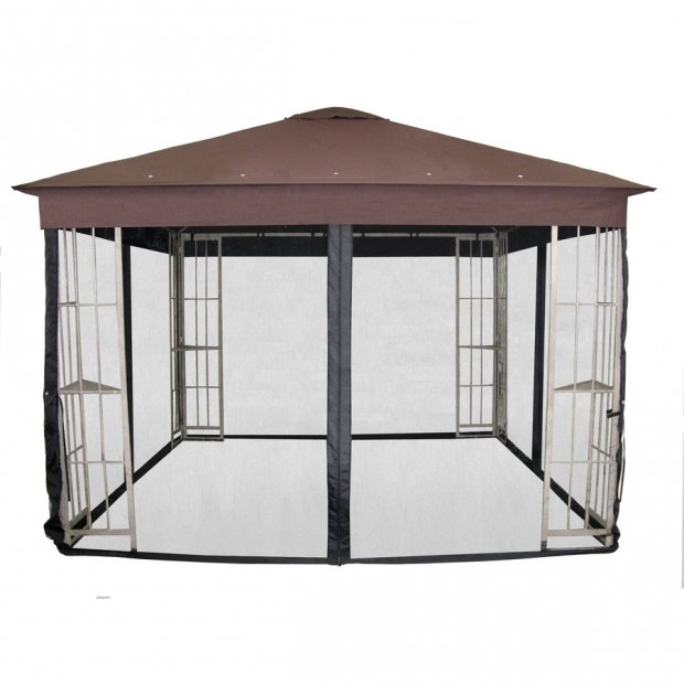 Fantastic Garden Treasures Black Steel Gazebo Shop Garden Treasures Black Gazebo Insect Net At Lowes