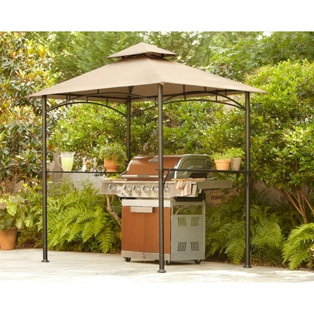 Fantastic Grill Gazebos Home Depot Hampton Bay 8 Ft X 5 Ft Tiki Grill Gazebo L Gg019pst The Home