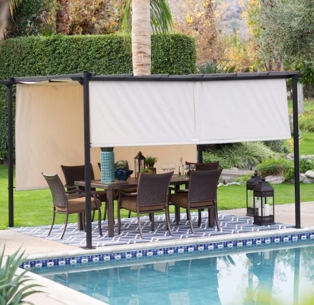 Fantastic Metal Pergola With Retractable Canopy 12 X 10 Steel Pergola Gazebo Retractable Canopy Shades Outdoor