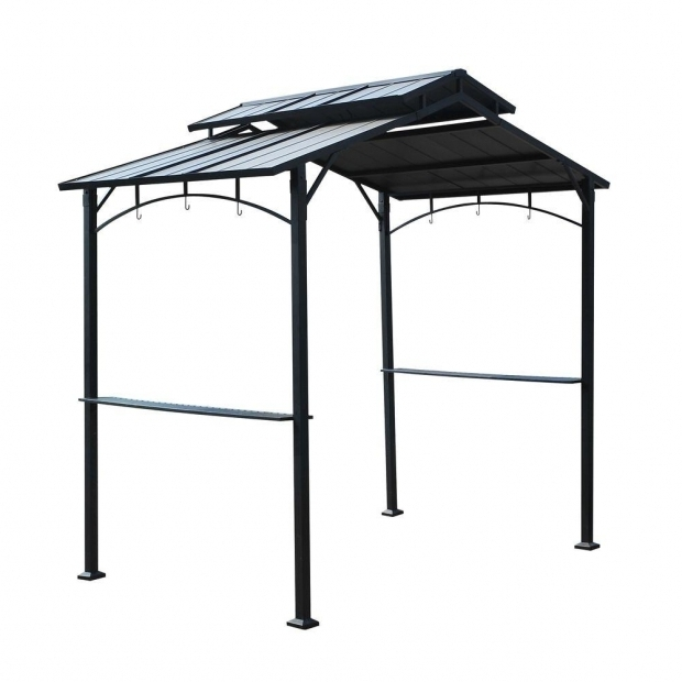 Fascinating Home Depot Grill Gazebo Sunjoy Keane 5 Ft X 8 Ft Black Steel Grill Hard Top Gazebo