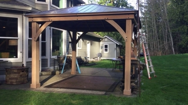 Gorgeous Cedar Wood Gazebo With Aluminum Roof Pt 3 Costco Yardistry 12x14 Wood Gazebo Final Assembly Youtube