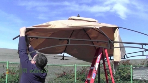 Image of 10x12 Gazebo Canopy Replacement How To Install A Lowes Allen Roth 10x12 Gazebo Canopy Youtube