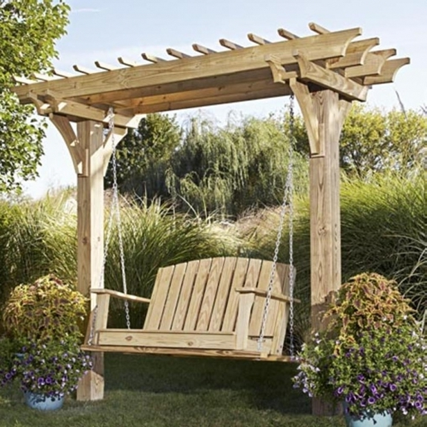 Marvelous Pergola Swing Plans Easy Swinging Arbor With Swing Woodworking Plan From Wood Magazine