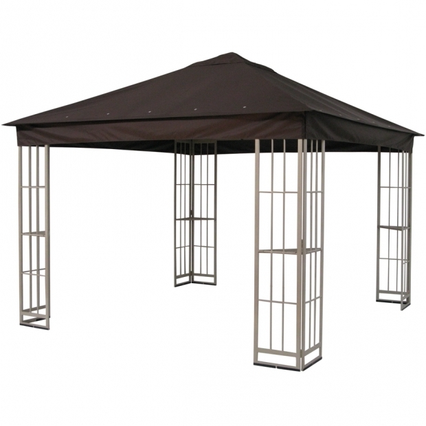 Outstanding Garden Treasures Black Steel Gazebo Shop Garden Treasures 10 Ft X 10 Ft X 9 Ft Polyester Roof Beige