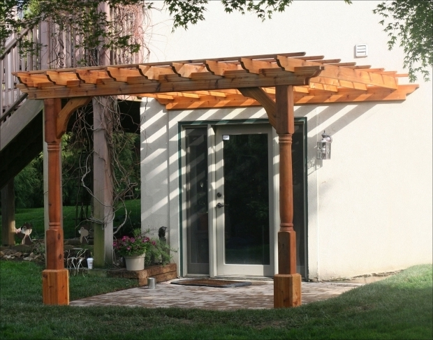 Outstanding Wall Mounted Pergola Kits Eyebrow Pergola Kits Wall Mount 10 X 10 Cedar 2 Beam Pergola