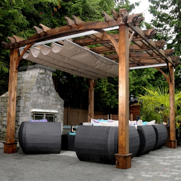 Remarkable Wooden Pergola With Retractable Canopy Pergola Garden Pergolas Lowes Canada