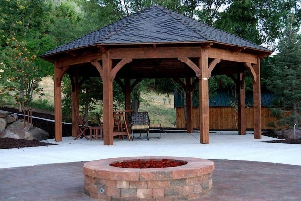 Stylish Outdoor Gazebo With Fire Pit Octagon Fire Pit Swing Fire Pit Pinterest Fire Pit Swings