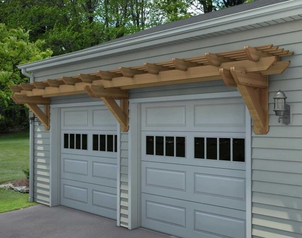 Wonderful Over Garage Door Pergola Rough Cut Cedar Eyebrow Wall Mount Pergolas Pergolas Style