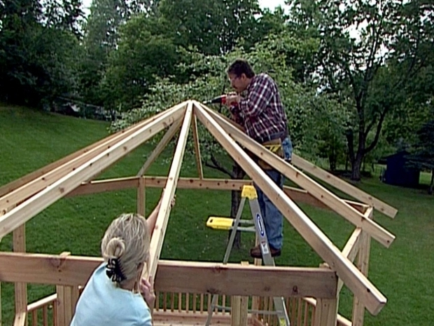 Alluring How To Build A Gazebo Roof How To Build A Gazebo From A Kit How Tos Diy