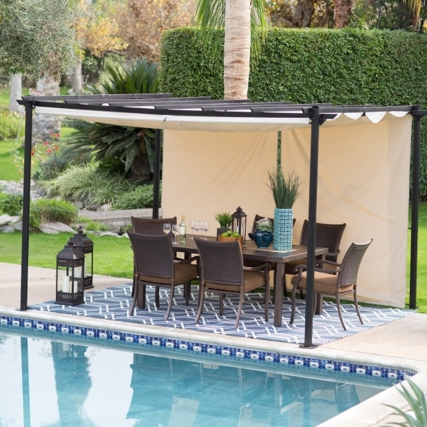 Awesome Pergola With Adjustable Shade Belham Living Steel Outdoor Pergola Gazebo With Retractable Canopy