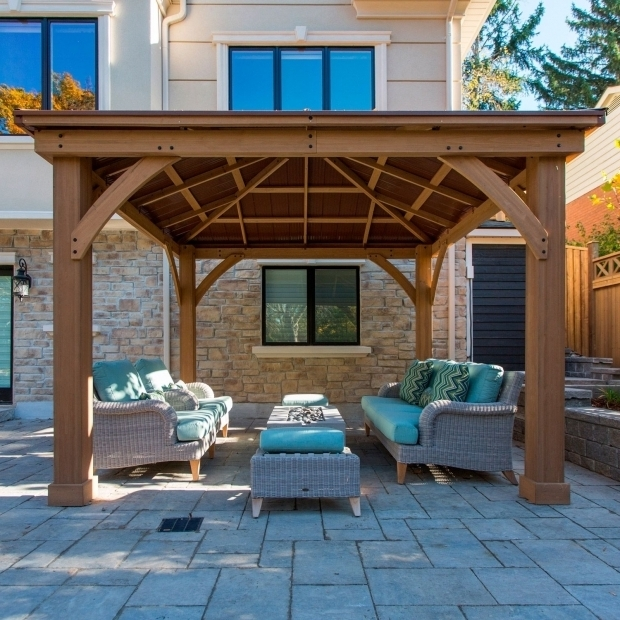 Fantastic Cedar Gazebo With Aluminum Roof Outdoor Backyard Lawn Cedar Wood 12 X 12 Gazebo W Aluminum Roof