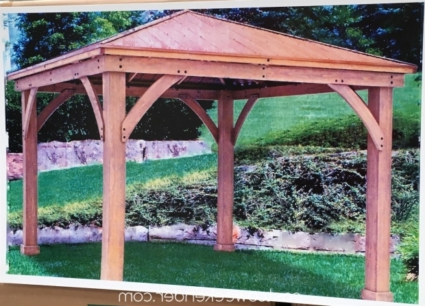 Fascinating Cedar Gazebo With Aluminum Roof Yardistry 12 X 12 Wood Gazebo With Aluminum Roof Costco Weekender