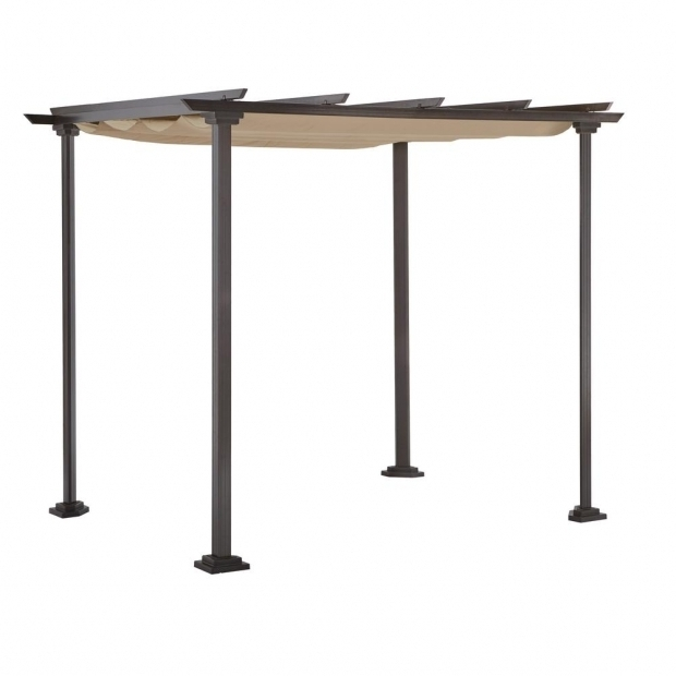Inspiring Hampton Bay Pergola With Retractable Roof Hampton Bay Toulon 10 Ft X 8 Ft Steel Pergola Gazebo With Flat