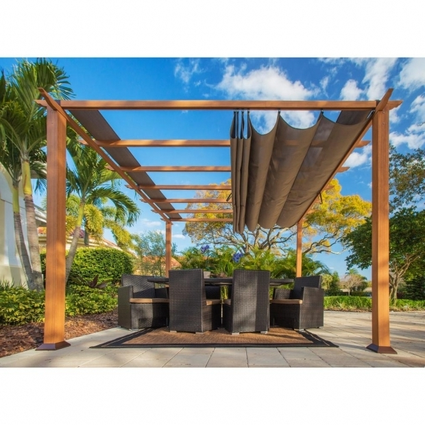 Outstanding Metal Pergola With Canopy Stc 11 Ft X 11 Ft Aluminum Catalina Pergola Pr100n1 The Home Depot