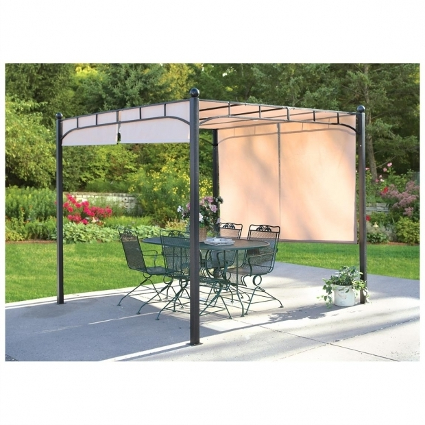 Picture of Pergola With Adjustable Shade Castlecreek Freestanding Pergola With Adjustable Shade Canopy