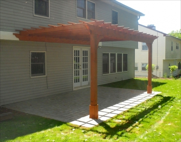 Picture of Wall Mounted Pergola Customers Photo 10 X 16 Cedar 2 Beam Wall Mounted Pergola
