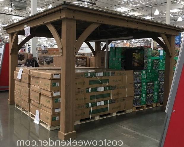 Remarkable Cedar Gazebo With Aluminum Roof Yardistry 12 X 14 Cedar Wood Gazebo With Aluminum Roof Costco