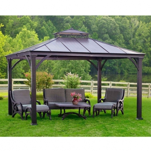 Stunning Gazebo Hardtop 10x12 Exterior Design Black Aluminum Hardtop Gazebo With White Curtains